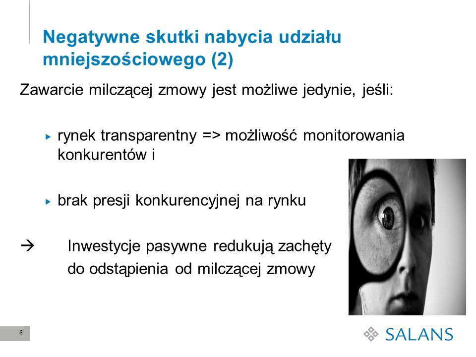 6 Negatywne skutki nabycia udziału mniejszościowego (2) Zawarcie milczącej zmowy jest możliwe jedynie, jeśli: rynek transparentny => możliwość monitor