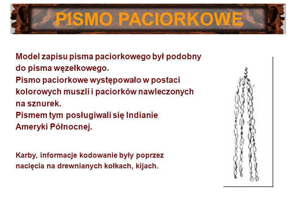 PISMO PACIORKOWE Model zapisu pisma paciorkowego był podobny do pisma węzełkowego. Pismo paciorkowe występowało w postaci kolorowych muszli i paciorkó