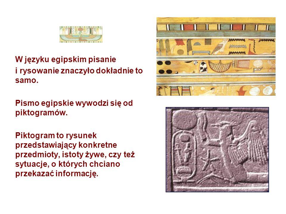 W języku egipskim pisanie i rysowanie znaczyło dokładnie to samo. Pismo egipskie wywodzi się od piktogramów. Piktogram to rysunek przedstawiający konk