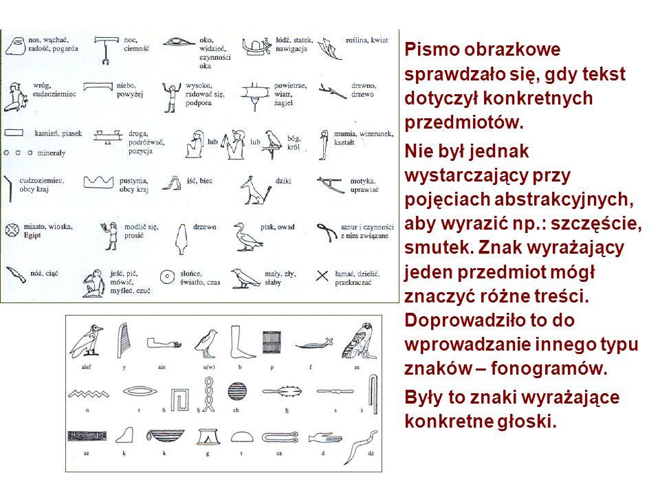 Pismo obrazkowe sprawdzało się, gdy tekst dotyczył konkretnych przedmiotów. Nie był jednak wystarczający przy pojęciach abstrakcyjnych, aby wyrazić np