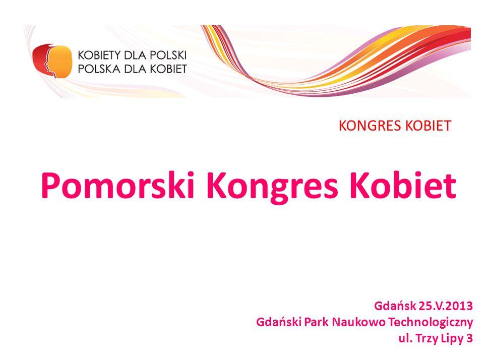 Pomorski Kongres Kobiet Gdańsk 25.V.2013 Gdański Park Naukowo Technologiczny ul. Trzy Lipy 3 KONGRES KOBIET