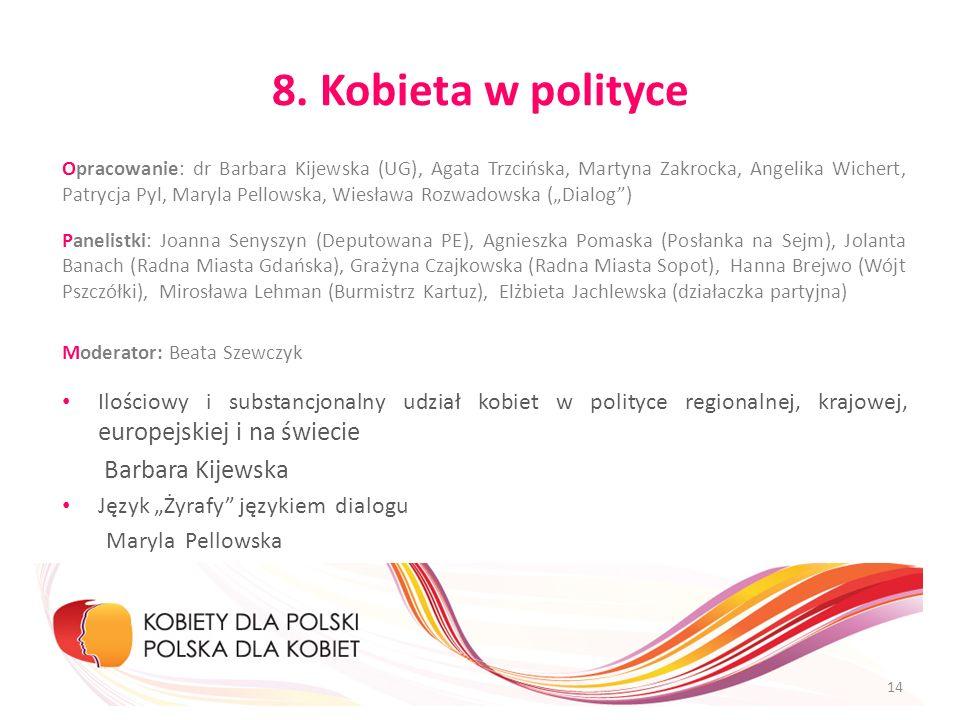 8. Kobieta w polityce Opracowanie: dr Barbara Kijewska (UG), Agata Trzcińska, Martyna Zakrocka, Angelika Wichert, Patrycja Pyl, Maryla Pellowska, Wies