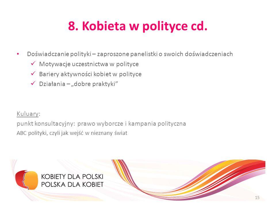 8. Kobieta w polityce cd. Doświadczanie polityki – zaproszone panelistki o swoich doświadczeniach Motywacje uczestnictwa w polityce Bariery aktywności