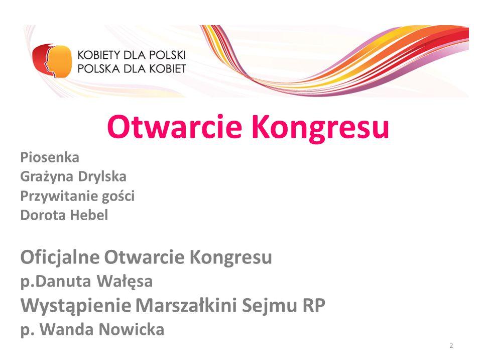 Otwarcie Kongresu Piosenka Grażyna Drylska Przywitanie gości Dorota Hebel Oficjalne Otwarcie Kongresu p.Danuta Wałęsa Wystąpienie Marszałkini Sejmu RP