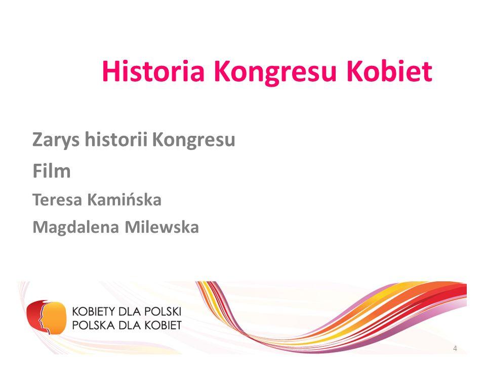 Historia Kongresu Kobiet Zarys historii Kongresu Film Teresa Kamińska Magdalena Milewska 4