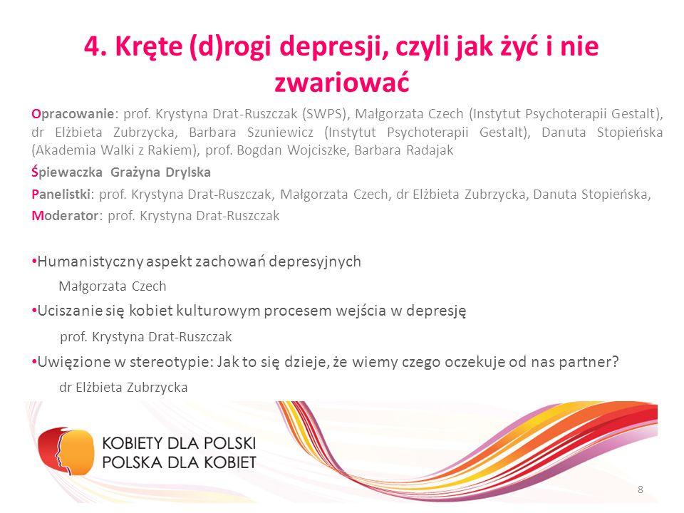 4. Kręte (d)rogi depresji, czyli jak żyć i nie zwariować Opracowanie: prof. Krystyna Drat-Ruszczak (SWPS), Małgorzata Czech (Instytut Psychoterapii Ge
