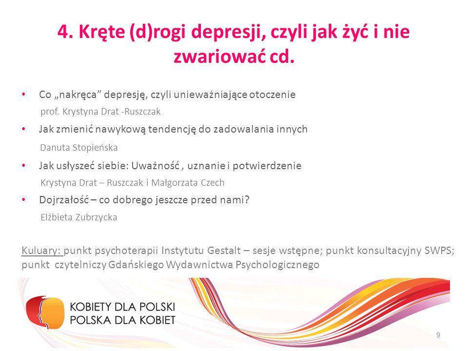 4. Kręte (d)rogi depresji, czyli jak żyć i nie zwariować cd. Co nakręca depresję, czyli unieważniające otoczenie prof. Krystyna Drat -Ruszczak Jak zmi