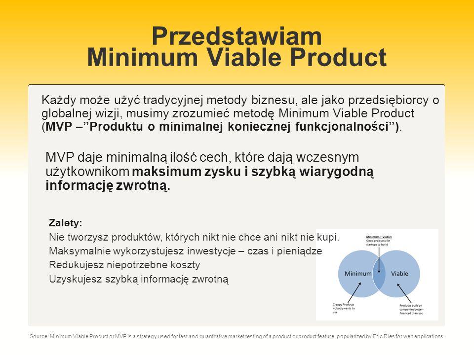 Minimum Viable Product Tylko kilku klientów będzie miało taką samą wizję produktu.