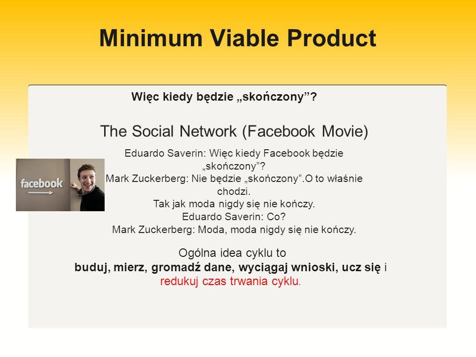 Minimum Viable Product Idea Buduj Mierz Gromadź dane Ucz się Zredukuj czas trwania cyklu
