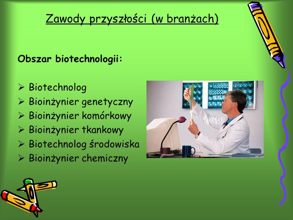 Zawody przyszłości (w branżach) Obszar biotechnologii: Biotechnolog Bioinżynier genetyczny Bioinżynier komórkowy Bioinżynier tkankowy Biotechnolog środowiska Bioinżynier chemiczny