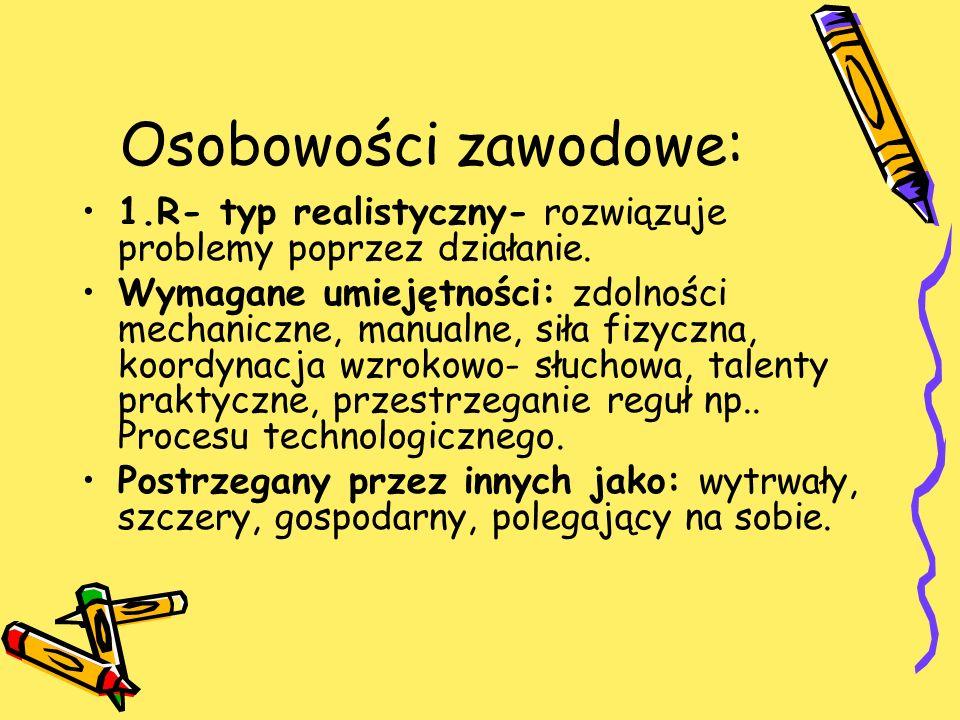 Osobowości zawodowe: 1.R- typ realistyczny- rozwiązuje problemy poprzez działanie.