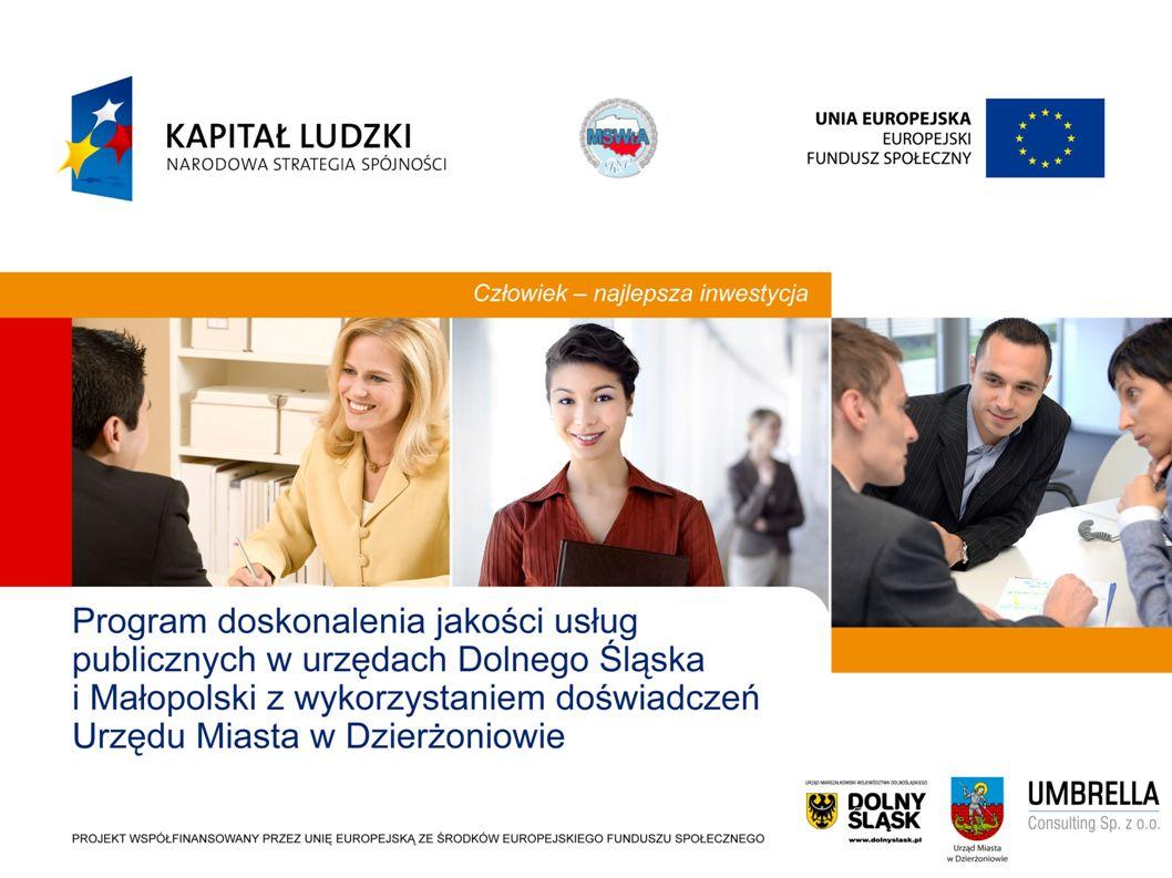 Słabe strony administracji publicznej wg Narodowej Strategii Spójności 2007 Niska sprawność instytucjonalna i jakość usług publicznych Brak nastawienia kadry na realizacje służebnej roli administracji w stosunku do sektora biznesu i społeczeństwa Brak systemowego podejścia do zarządzania zasobami ludzkimi i angażowania pracowników w działania doskonalące Zróżnicowany poziom kultury organizacyjnej; wdrożone systemy ISO 9000 nie są w pełni wykorzystywane Słabości administracji spowolnienie procesów rozwoju społeczno-gospodarczego