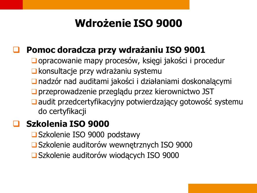 Wdrożenie ISO 9000 Pomoc doradcza przy wdrażaniu ISO 9001 opracowanie mapy procesów, księgi jakości i procedur konsultacje przy wdrażaniu systemu nadz