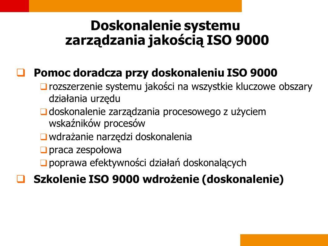 Doskonalenie systemu zarządzania jakością ISO 9000 Pomoc doradcza przy doskonaleniu ISO 9000 rozszerzenie systemu jakości na wszystkie kluczowe obszar