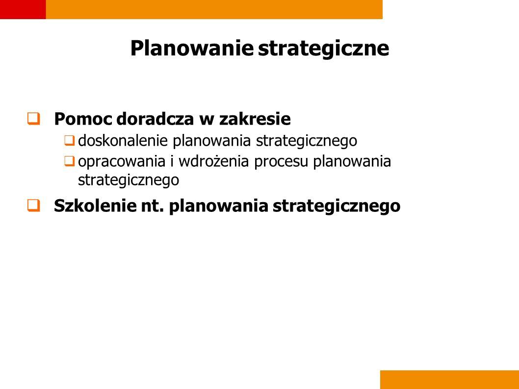 Planowanie strategiczne Pomoc doradcza w zakresie doskonalenie planowania strategicznego opracowania i wdrożenia procesu planowania strategicznego Szk