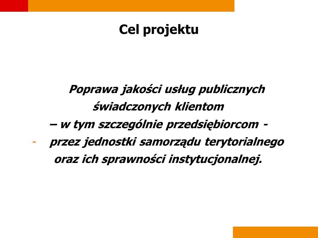 Cel projektu Poprawa jakości usług publicznych świadczonych klientom – w tym szczególnie przedsiębiorcom - -przez jednostki samorządu terytorialnego o
