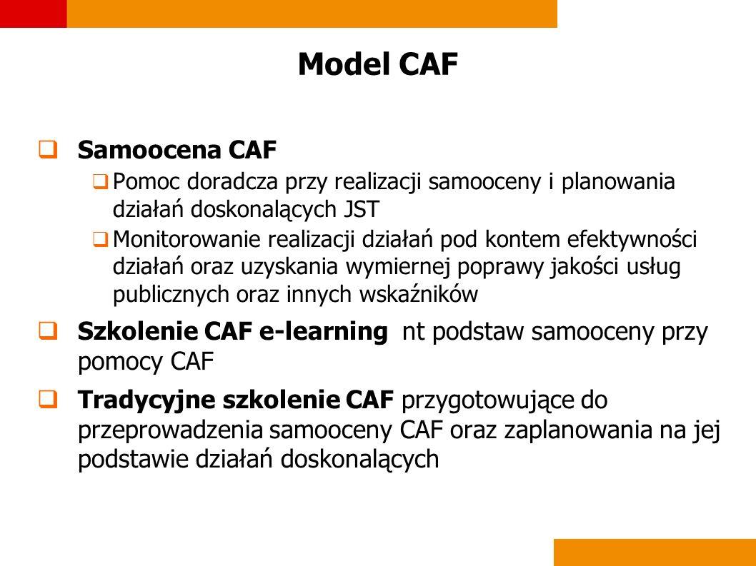 Model CAF Samoocena CAF Pomoc doradcza przy realizacji samooceny i planowania działań doskonalących JST Monitorowanie realizacji działań pod kontem ef