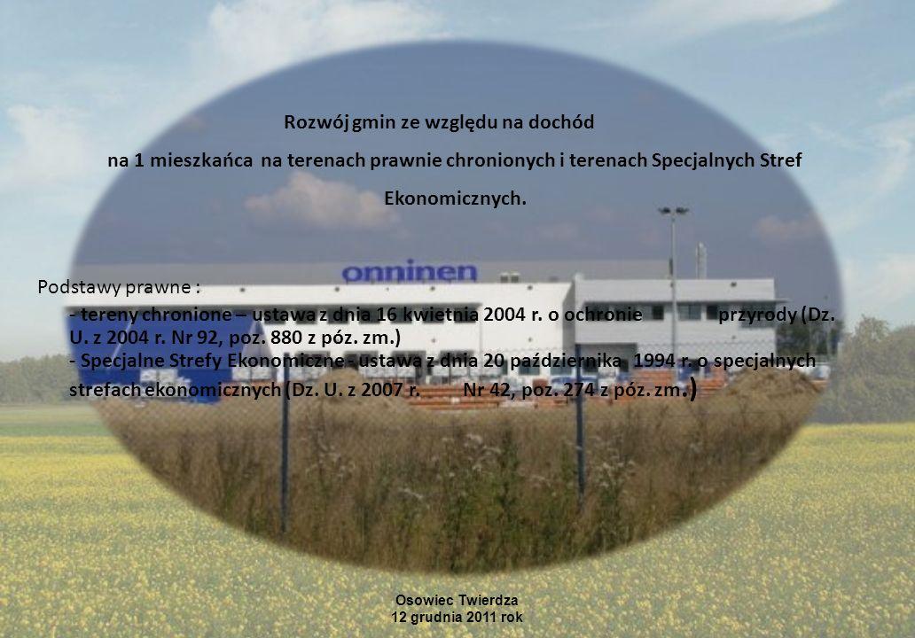 Gminy posiadające na swoim terenie obszary Natura 2000 – 1300 gmin, ilość gmin w Polsce – 2479 Osowiec Twierdza 12 grudnia 2011 rok