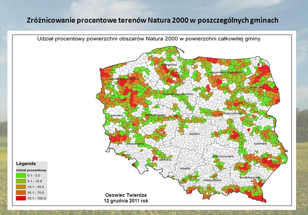Zróżnicowanie procentowe terenów Natura 2000 w poszczególnych gminach Osowiec Twierdza 12 grudnia 2011 rok