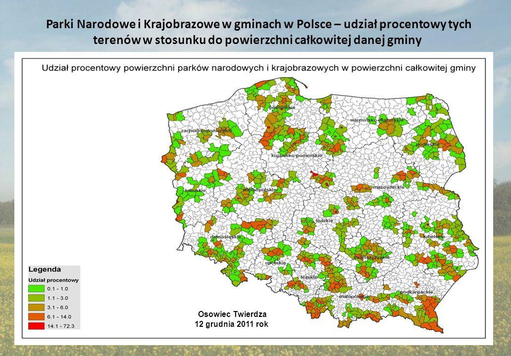Parki Narodowe i Krajobrazowe w gminach w Polsce – udział procentowy tych terenów w stosunku do powierzchni całkowitej danej gminy Osowiec Twierdza 12