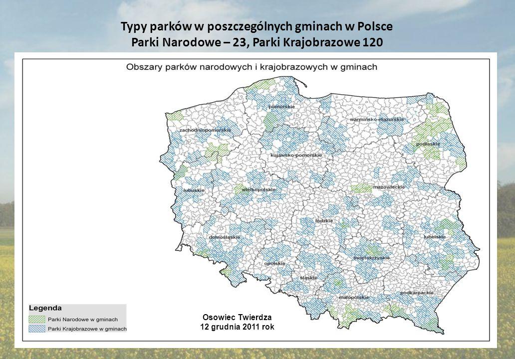 Wskaźnik G w gminach, w których występują tereny chronione : Parki Narodowe, Parki Krajobrazowe, Natura 2000 Osowiec Twierdza 12 grudnia 2011 rok