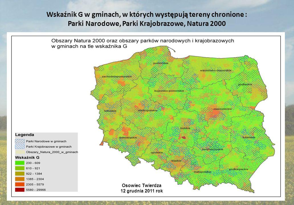 Tereny chronione bez terenów natura 2000 na tle wskaźnika G Osowiec Twierdza 12 grudnia 2011 rok