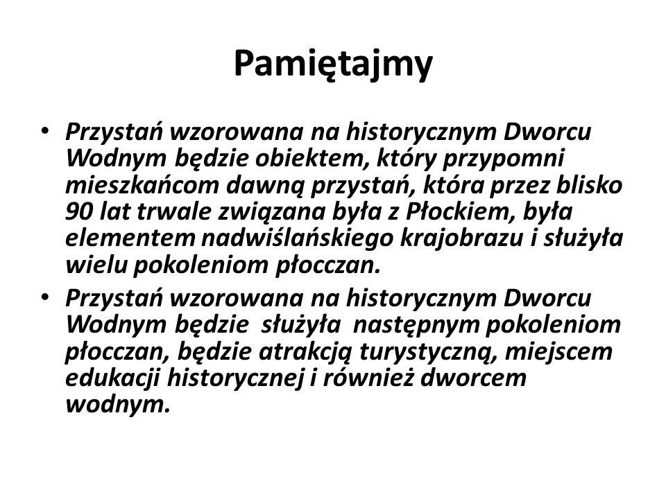 Pamiętajmy Przystań wzorowana na historycznym Dworcu Wodnym będzie obiektem, który przypomni mieszkańcom dawną przystań, która przez blisko 90 lat trwale związana była z Płockiem, była elementem nadwiślańskiego krajobrazu i służyła wielu pokoleniom płocczan.