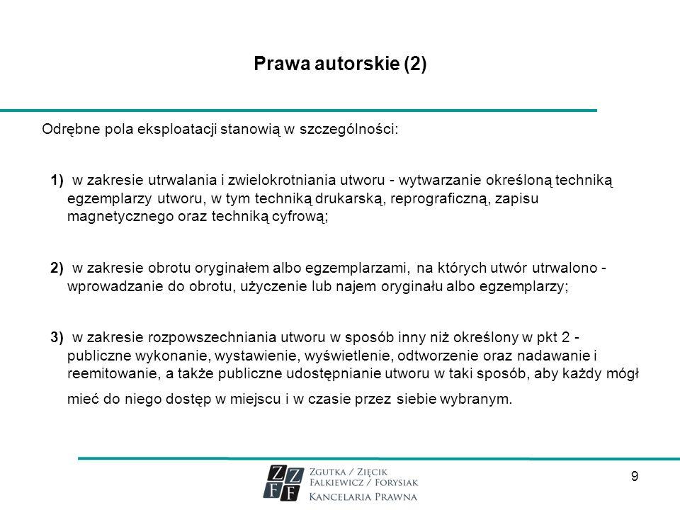 Prawa autorskie (2) Odrębne pola eksploatacji stanowią w szczególności: 1) w zakresie utrwalania i zwielokrotniania utworu - wytwarzanie określoną tec