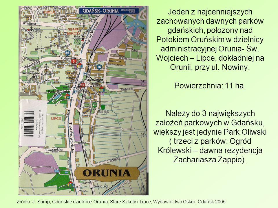 Jeden z najcenniejszych zachowanych dawnych parków gdańskich, położony nad Potokiem Oruńskim w dzielnicy administracyjnej Orunia- Św. Wojciech – Lipce