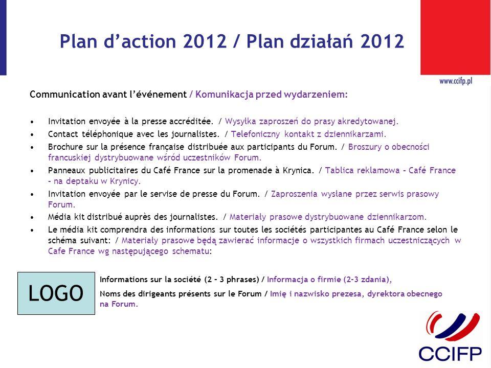 Plan daction 2012 / Plan działań 2012 Communication avant lévénement / Komunikacja przed wydarzeniem: Invitation envoyée à la presse accréditée. / Wys