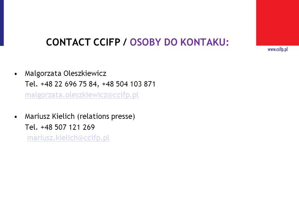 CONTACT CCIFP / OSOBY DO KONTAKU: Malgorzata Oleszkiewicz Tel. +48 22 696 75 84, +48 504 103 871 malgorzata.oleszkiewicz@ccifp.pl Mariusz Kielich (rel