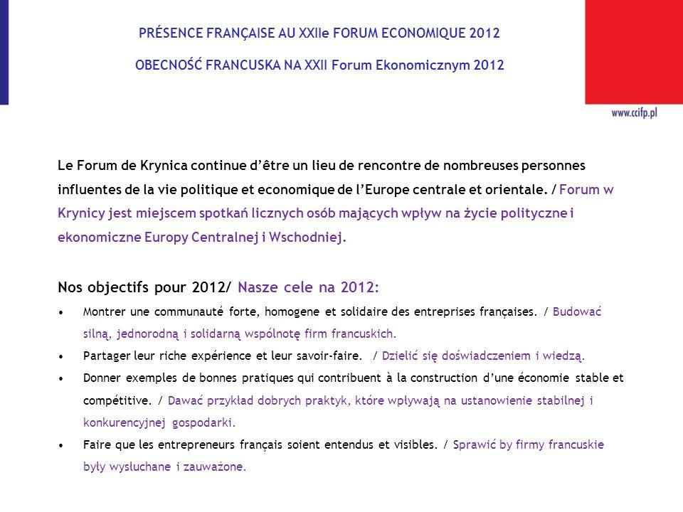 PRÉSENCE FRANÇAISE AU XXIIe FORUM ECONOMIQUE 2012 OBECNOŚĆ FRANCUSKA NA XXII Forum Ekonomicznym 2012 Le Forum de Krynica continue dêtre un lieu de ren