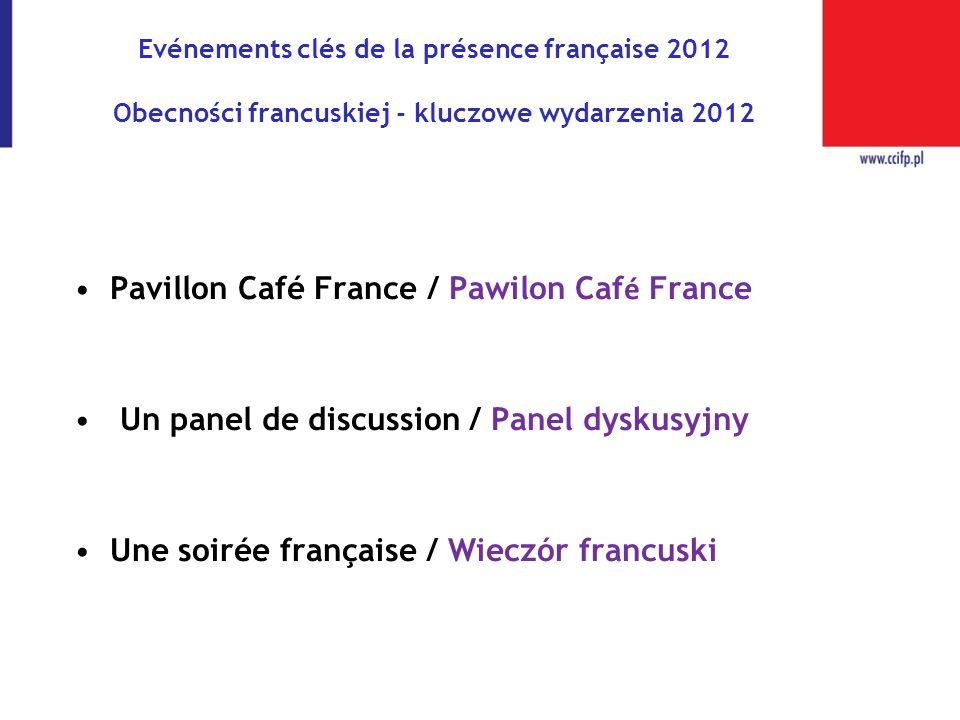 Evénements clés de la présence française 2012 Obecności francuskiej - kluczowe wydarzenia 2012 Pavillon Café France / Pawilon Caf é France Un panel de