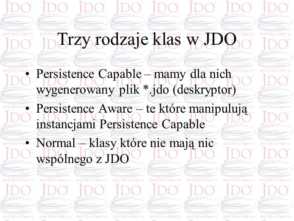 Trzy rodzaje klas w JDO Persistence Capable – mamy dla nich wygenerowany plik *.jdo (deskryptor) Persistence Aware – te które manipulują instancjami P