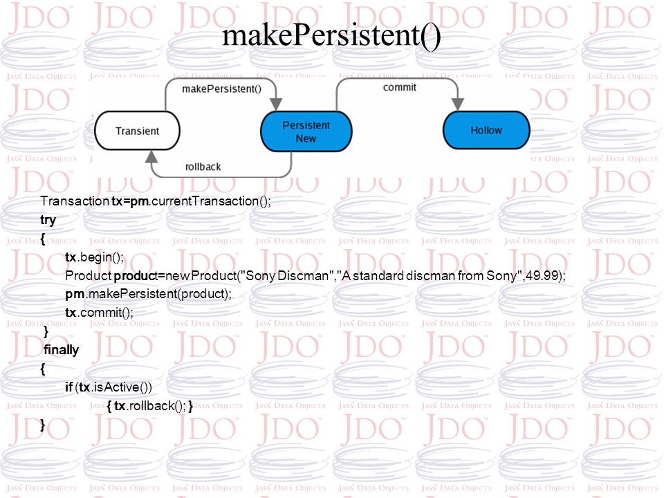 makePersistent() Transaction tx=pm.currentTransaction(); try { tx.begin(); Product product=new Product(