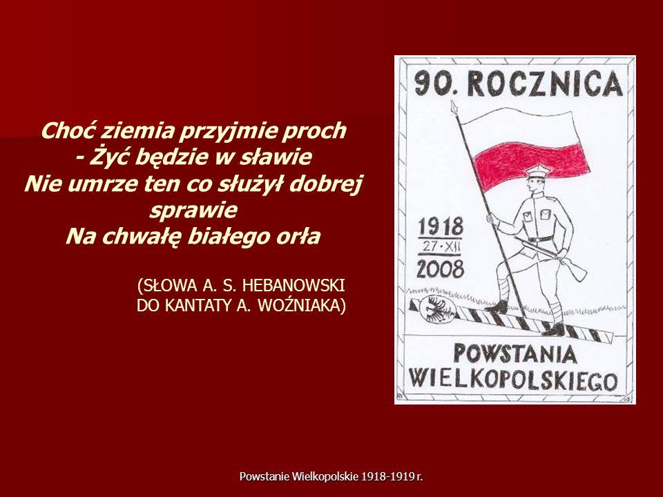 Powstanie Wielkopolskie 1918-1919 r. Choć ziemia przyjmie proch - Żyć będzie w sławie Nie umrze ten co służył dobrej sprawie Na chwałę białego orła (S