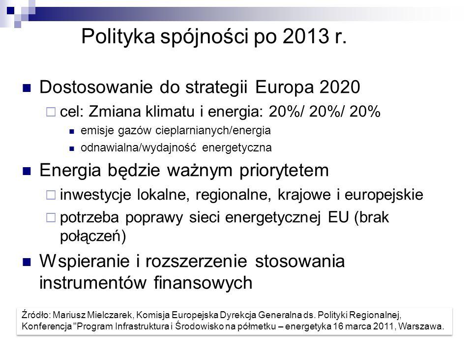 Polityka spójności po 2013 r. Dostosowanie do strategii Europa 2020 cel: Zmiana klimatu i energia: 20%/ 20%/ 20% emisje gazów cieplarnianych/energia o