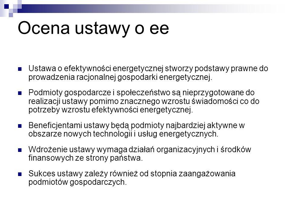 Ocena ustawy o ee Ustawa o efektywności energetycznej stworzy podstawy prawne do prowadzenia racjonalnej gospodarki energetycznej. Podmioty gospodarcz