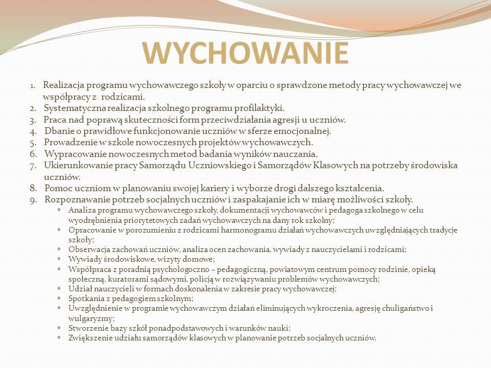 WYCHOWANIE 1. Realizacja programu wychowawczego szkoły w oparciu o sprawdzone metody pracy wychowawczej we współpracy z rodzicami. 2. Systematyczna re