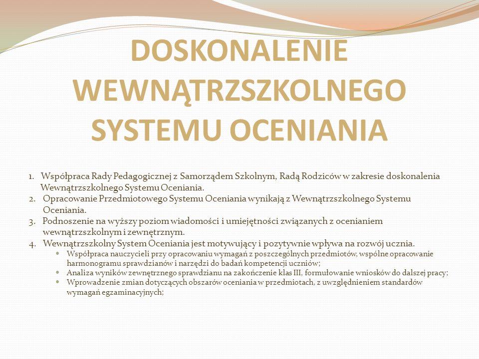 DOSKONALENIE WEWNĄTRZSZKOLNEGO SYSTEMU OCENIANIA 1. Współpraca Rady Pedagogicznej z Samorządem Szkolnym, Radą Rodziców w zakresie doskonalenia Wewnątr