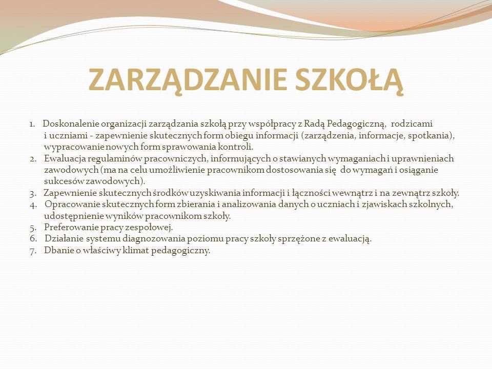 ZARZĄDZANIE SZKOŁĄ 1. Doskonalenie organizacji zarządzania szkołą przy współpracy z Radą Pedagogiczną, rodzicami i uczniami - zapewnienie skutecznych