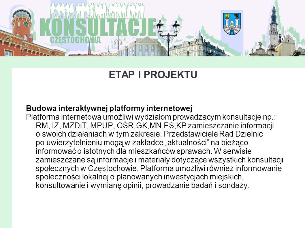 ETAP I PROJEKTU Budowa interaktywnej platformy internetowej Platforma internetowa umożliwi wydziałom prowadzącym konsultacje np.: RM, IZ, MZDiT, MPUP,