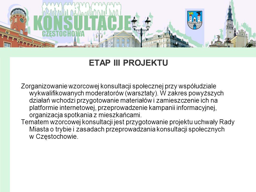 ETAP III PROJEKTU Zorganizowanie wzorcowej konsultacji społecznej przy współudziale wykwalifikowanych moderatorów (warsztaty). W zakres powyższych dzi