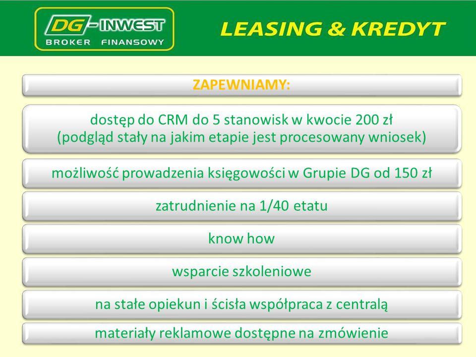 ZAPEWNIAMY: dostęp do CRM do 5 stanowisk w kwocie 200 zł (podgląd stały na jakim etapie jest procesowany wniosek) możliwość prowadzenia księgowości w