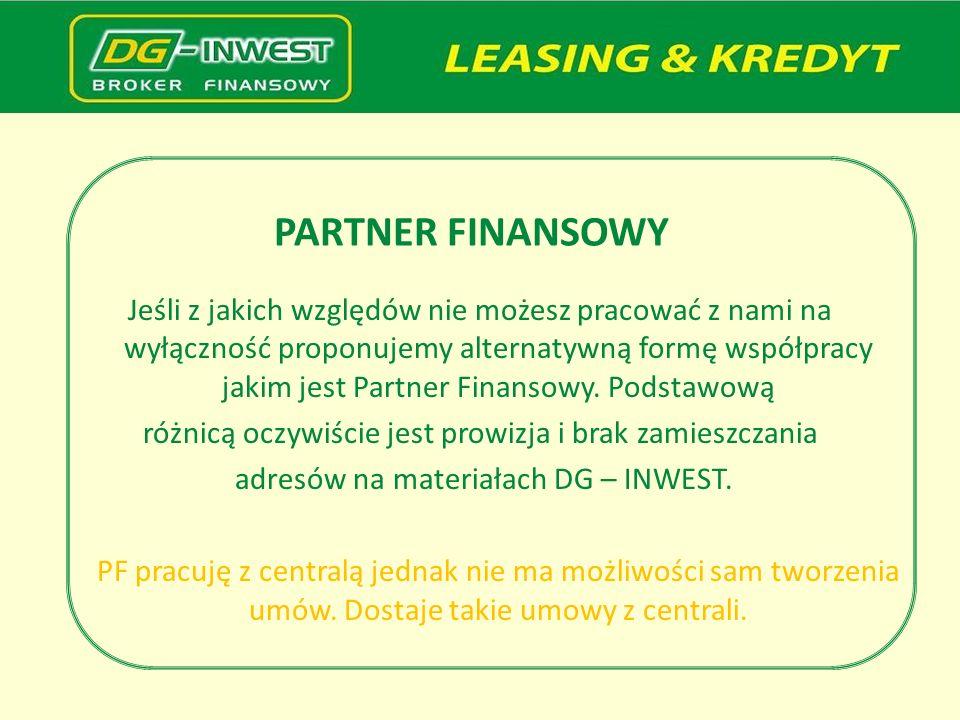 PARTNER FINANSOWY Jeśli z jakich względów nie możesz pracować z nami na wyłączność proponujemy alternatywną formę współpracy jakim jest Partner Finans