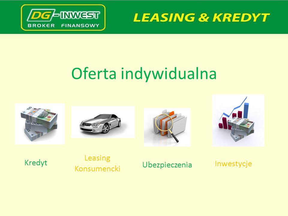 Oferta indywidualna Leasing Konsumencki Kredyt Ubezpieczenia Inwestycje