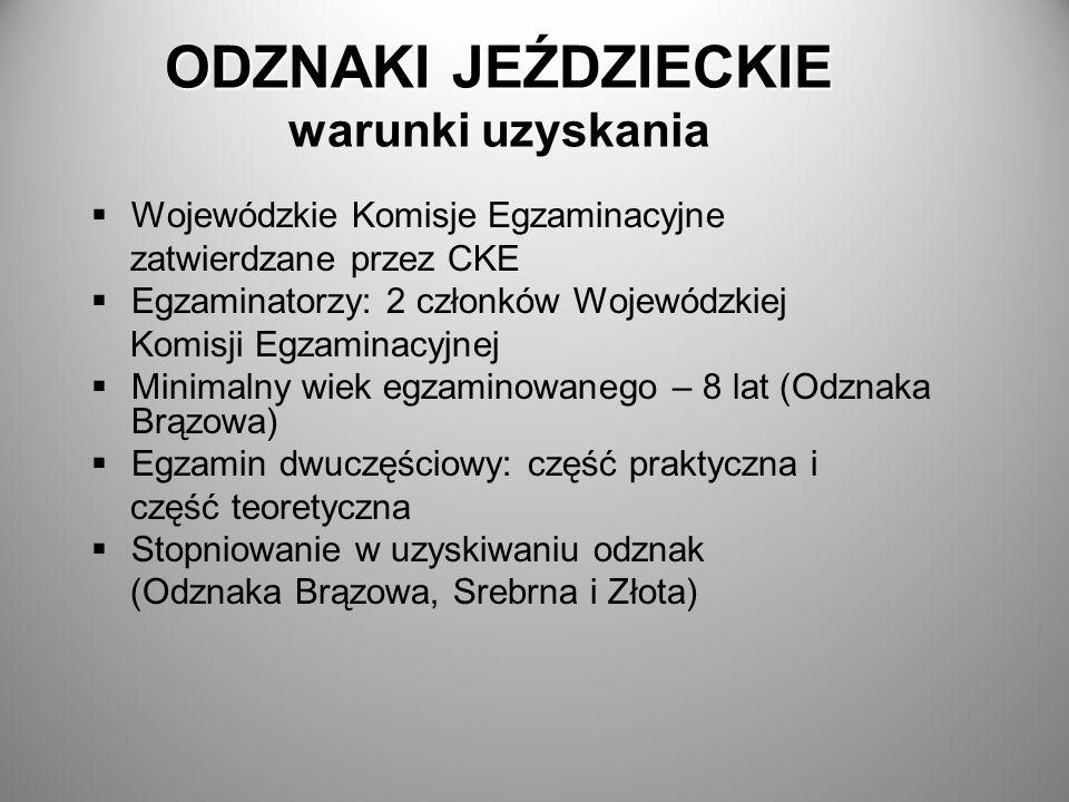 ODZNAKI JEŹDZIECKIE ODZNAKI JEŹDZIECKIE warunki uzyskania Wojewódzkie Komisje Egzaminacyjne zatwierdzane przez CKE Egzaminatorzy: 2 członków Wojewódzk