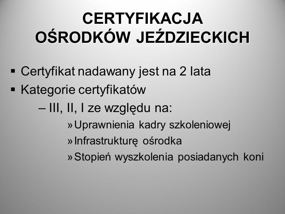 CERTYFIKACJA OŚRODKÓW JEŹDZIECKICH Certyfikat nadawany jest na 2 lata Kategorie certyfikatów – III, II, I ze względu na: »Uprawnienia kadry szkoleniow