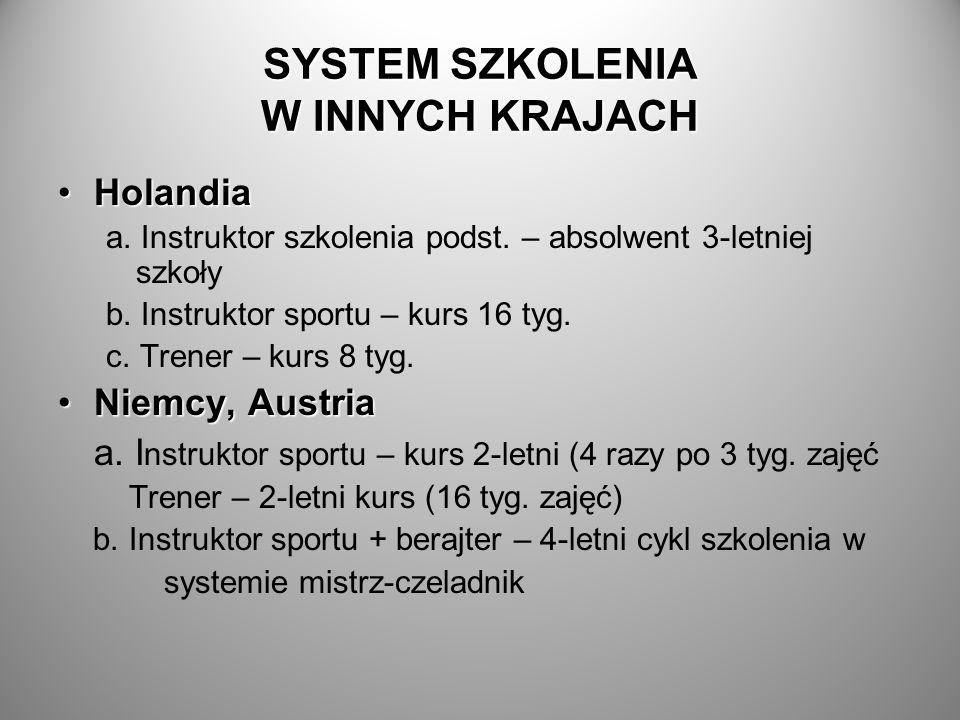 SYSTEM SZKOLENIA W INNYCH KRAJACH HolandiaHolandia a. Instruktor szkolenia podst. – absolwent 3-letniej szkoły b. Instruktor sportu – kurs 16 tyg. c.
