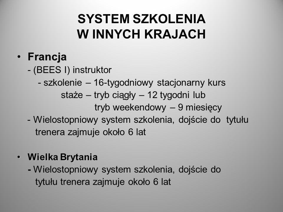 SYSTEM SZKOLENIA W INNYCH KRAJACH FrancjaFrancja - (BEES I) instruktor - szkolenie – 16-tygodniowy stacjonarny kurs staże – tryb ciągły – 12 tygodni l